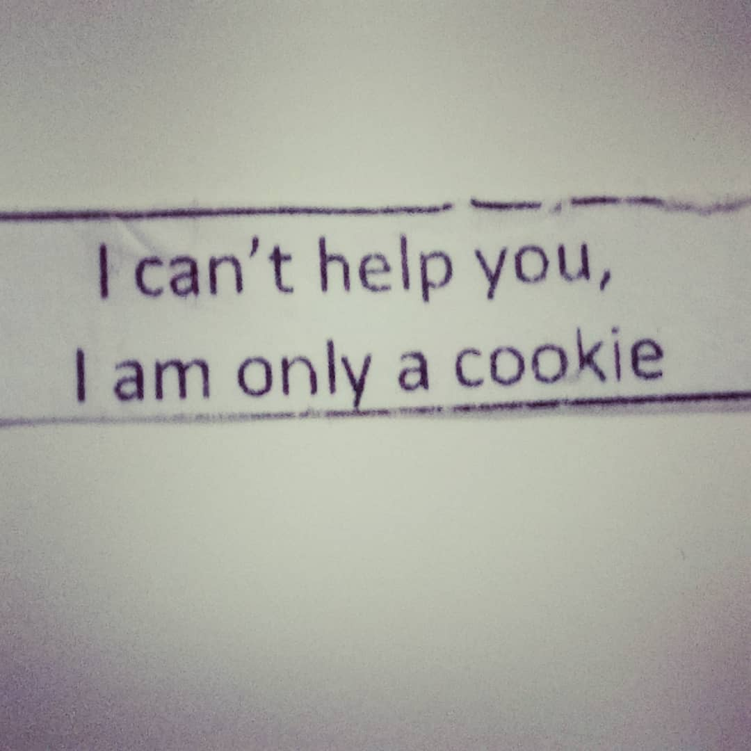 Got this in a fortune cookie a month ago! Brilliant message! We make our own fortunes, meet our own goals, set our own targets and should stop eating cookies!! #fortunecookie #fortune #wisewords #wisequotes #onlyacookie #stopeatingcookies #makeyourownluck #makeyourownrules #youhelpyourself #setgoals #settargets #motivationalmonday