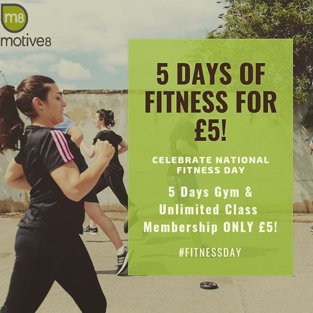 It's here! Our week long celebration of #nationalfitnessday We have 5 days of offers. Day 1 = 5 days of Gym & Class Membership ONLY £5. Call into the studio or message us to book #fitnessday #fitness2me #affordablefitness #leeds #leedsdeals #leedsbargains #gymlife #gym #groupfitness