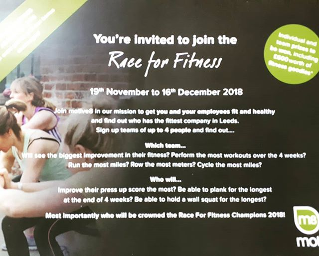 RACE FOR FITNESS IS BACK! Teams of 4 battling it out for 4 weeks to be crowned the champions. #gottobeinittowinit #raceforfitness #motive8north #gymlife #friendlycompetition #leedsgym #excited