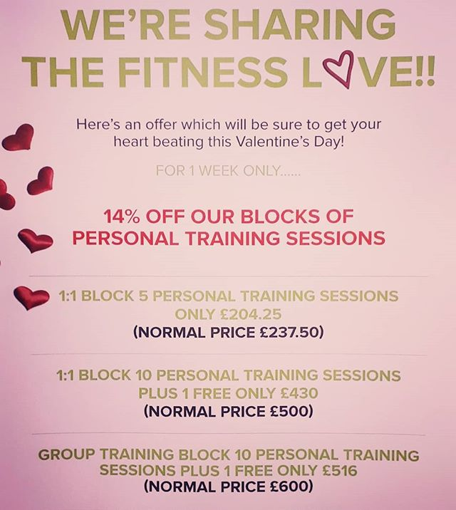 Sharing the fitness love!! #fitnesslove #valentinesday #discount #fitfam #beourvalentine #pinktint #personaltrainers #motive8north #leedsdeals